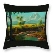 Afternoon By The River With Peaceful Landscape L A S Throw Pillow