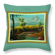 Afternoon By The River With Peaceful Landscape L A S With Decorative Ornate Printed Frame. Throw Pillow