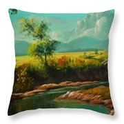 Afternoon By The River With Peaceful Landscape L B Throw Pillow