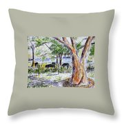Afternoon Siesta On The Farm Throw Pillow