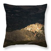 Afternoon Sun Lighting Up Village Of Speloncato In Corsica Throw Pillow