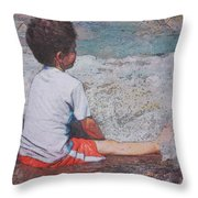 Afternoon Surf Throw Pillow by Kate Word