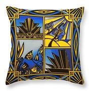 Art Deco In Blue Throw Pillow