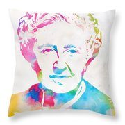 Agatha Christie Watercolor Tribute Throw Pillow