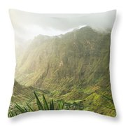Agave Plants And Rocky Mountains. Santo Antao. Throw Pillow