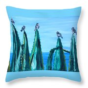 Agave With Sparrows Throw Pillow