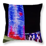 Agbar Tower In Barcelona Throw Pillow