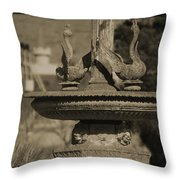 Aged And Worn Swan Statues On Rustic Cast Fountain Throw Pillow