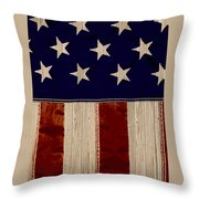 Aged Rustic American Flag Throw Pillow