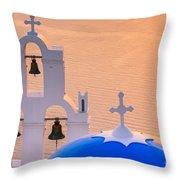 Aghioi Theodoroi Church At Firostefani, Santorini Throw Pillow