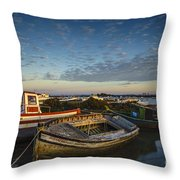 Aging Boats On Trocadero Pipe Puerto Real Cadiz Spain Throw Pillow