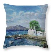 Agios Ioannis Beach, Mykonos Greece Throw Pillow