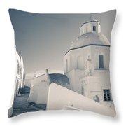 Agios Minas Santorini Bw Throw Pillow