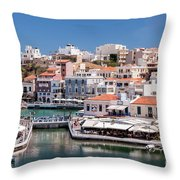 Agios Nikolaos Lagoon Entrance Throw Pillow