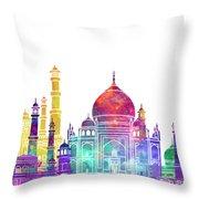 Agra Landmarks Watercolor Poster Throw Pillow