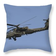 Ah-64 Apache In Flight Over The Baghdad Throw Pillow