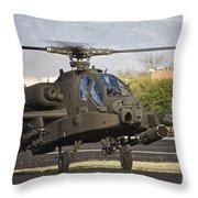 Ah-64d Apache Longbow Taxiing Throw Pillow