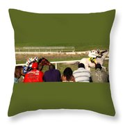 Ahead By Two Lengths Throw Pillow