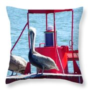 Ahoy Pelicans Throw Pillow