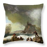 Ailing Ships On Rocks Throw Pillow