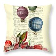 Hot Air Balloons Above Flower Field Throw Pillow