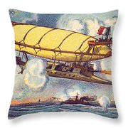 Air Battle, 1900s French Postcard Throw Pillow