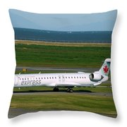 Air Canada Express Crj Taxis Into The Terminal Throw Pillow