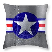 Air Force Logo On Riveted Steel Plane Fuselage Throw Pillow