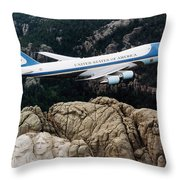 Air Force One Flying Over Mount Rushmore Throw Pillow