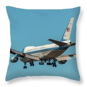 Air Force One On Final Approach Into Charleston South Carolina Throw Pillow