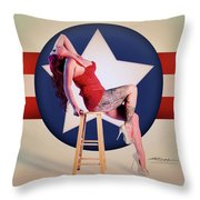 Air Force Pinup With Calypso Jean Throw Pillow