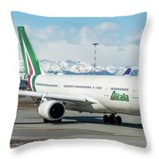 Airbus A330 Alitalia With New Livery  Throw Pillow