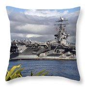 Aircraft Carrier Uss Abraham Lincoln Throw Pillow