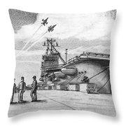 Aircraft Carrier Throw Pillow