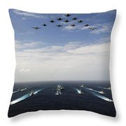 Aircraft Fly Over A Group Of U.s Throw Pillow