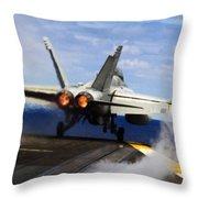 aircraft military F 18 Hornet Throw Pillow