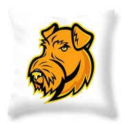 Airedale Terrier Dog Mascot Throw Pillow