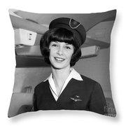 Airline Stewardess Throw Pillow