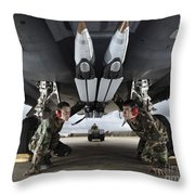 Airmen Check The Gbu-39 Small Diameter Throw Pillow by Stocktrek Images