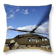 Airmen Provide Security In Front Throw Pillow