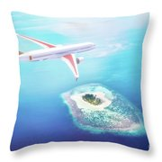 Airplane Flying Over Maldives Islands On Indian Ocean. Travel Throw Pillow