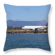 airplane on airport Corfu island Greece Throw Pillow