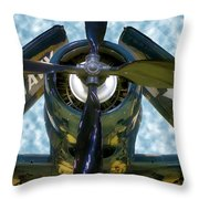 Airplane Propeller And Engine Navy Throw Pillow