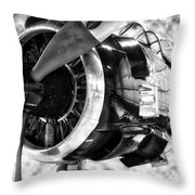 Airplane Propeller And Engine T28 Trojan 02 Bw Throw Pillow