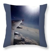 Airplane Wing In Clouds Throw Pillow