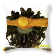Airplane Wooden Propeller And Engine Timm N2t-1 Tutor Throw Pillow