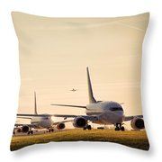 Airplanes Lining Up For Take-off Throw Pillow