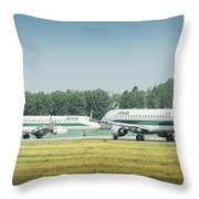 Airplanes That Appear To Be Kissing Throw Pillow