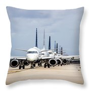 Airport Runway Stacked Up Throw Pillow
