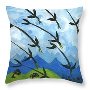 Airy Eight Of Wands Illustrated Throw Pillow